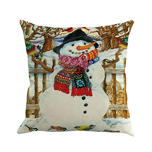 Cuteelf Christmas Pillow Case Decoration Sofa Mat Set 45x45cm Christmas Linen Pillow Case Decoration Sofa Cushion Cover Living Room Decoration Car Home Decoration Festival